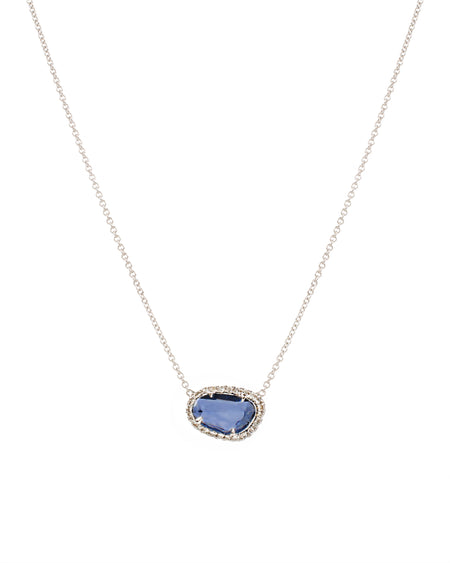 Blue Sapphire Necklace with Diamonds