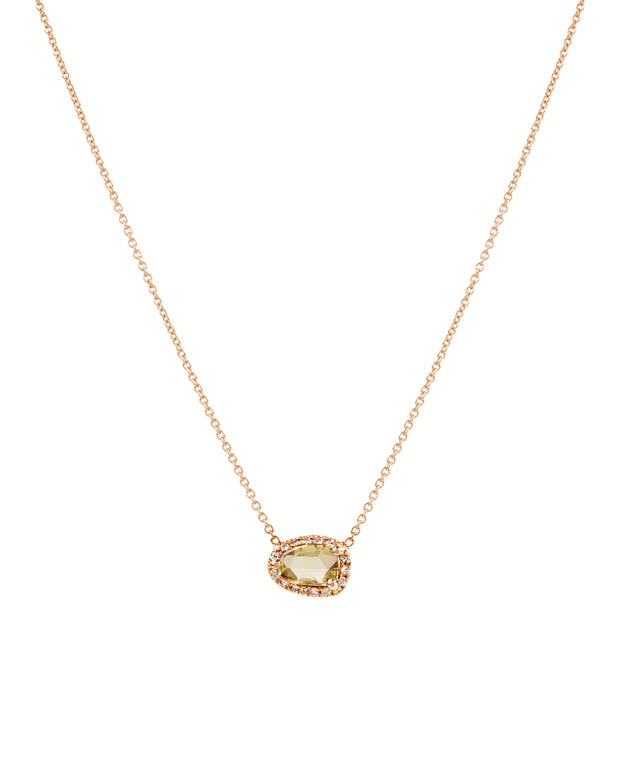 Greenish Yellow Sapphire Necklace with Diamonds