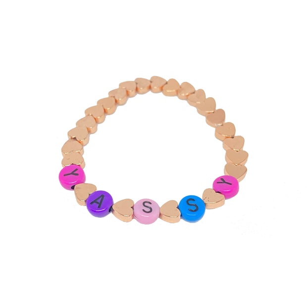 Personalised Heart Bracelet, Multicoloured Base