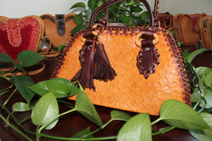 Kupendiza sheepskin leather handbag handmade in Guyana