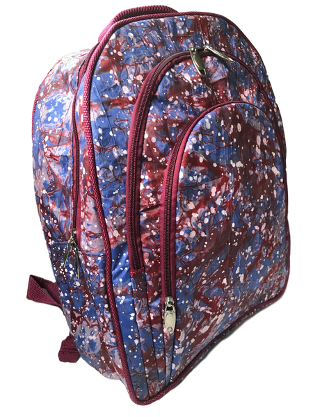 Addy-backpack-from-Kupendiza-LeLook-cotton-three-pocket-red-blue-white-dots-side-view