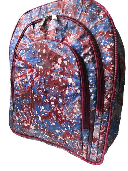 Addy-backpack-from-Kupendiza-LeLook-cotton-three-pocket-red-blue-white-dots-Adire