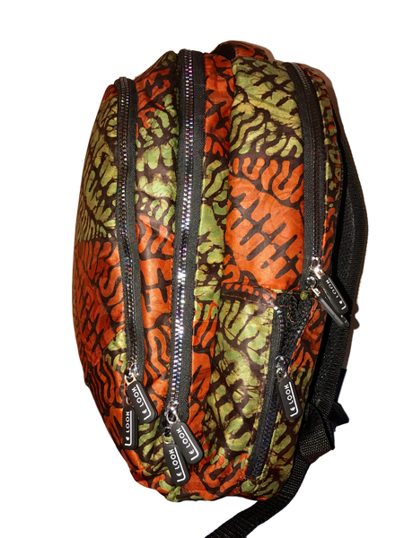 Addy-backpack-green-orange-leaves-from-Kupendiza-side-view