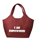 I-Am-Empowered-tote-bag-dark chocolote-colored-burlap-from-Kupendiza