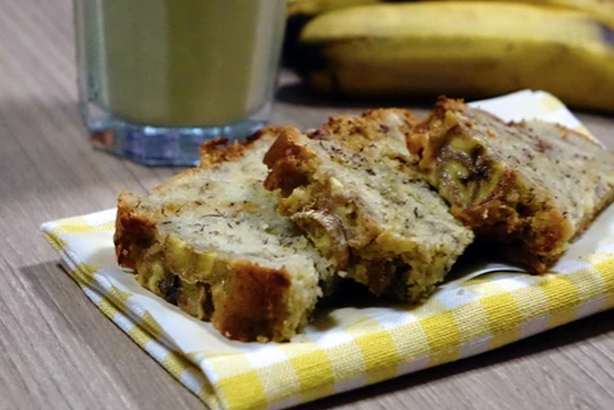 Superfood banana bread slices on a napkin.