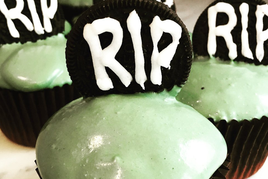 Cupcakes with RIP frosting.
