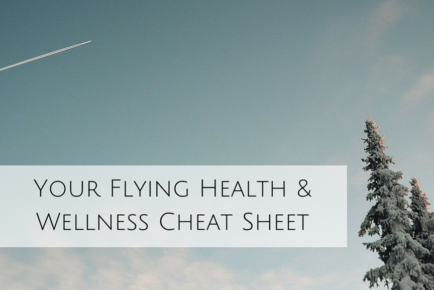 Image of tree against a blue sky with text: your flying health and wellness cheat sheet