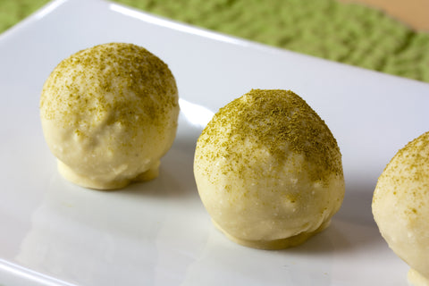 Healthy cashew lime wheatgrass bliss ball snack