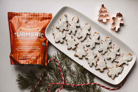 vegan paleo gingerbread men and Christmas cookies with turmeric