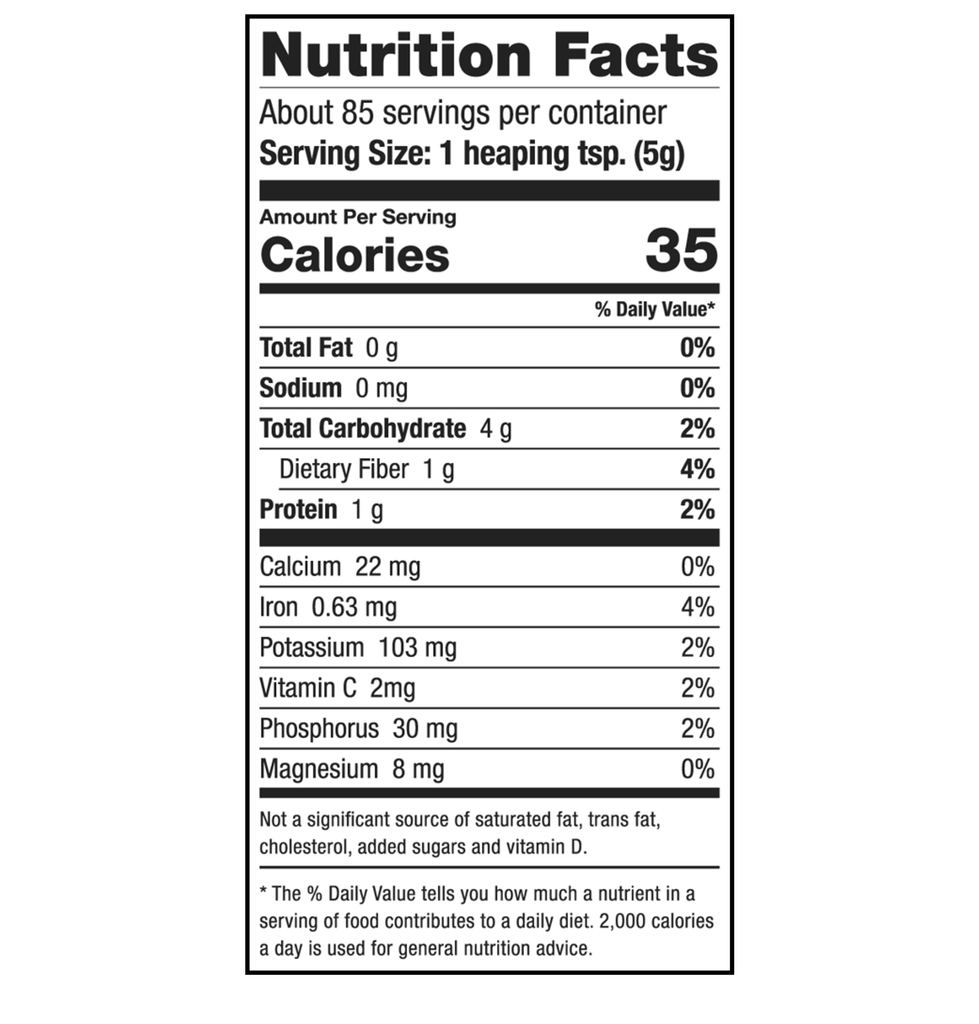 Sari Foods Organic Gelatinized Maca Powder Nutrition Facts