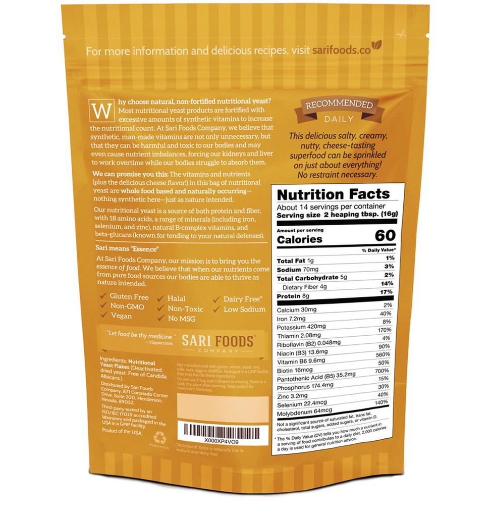 Sari Foods Organic Non-fortified Nutritional Yeast Flakes package back