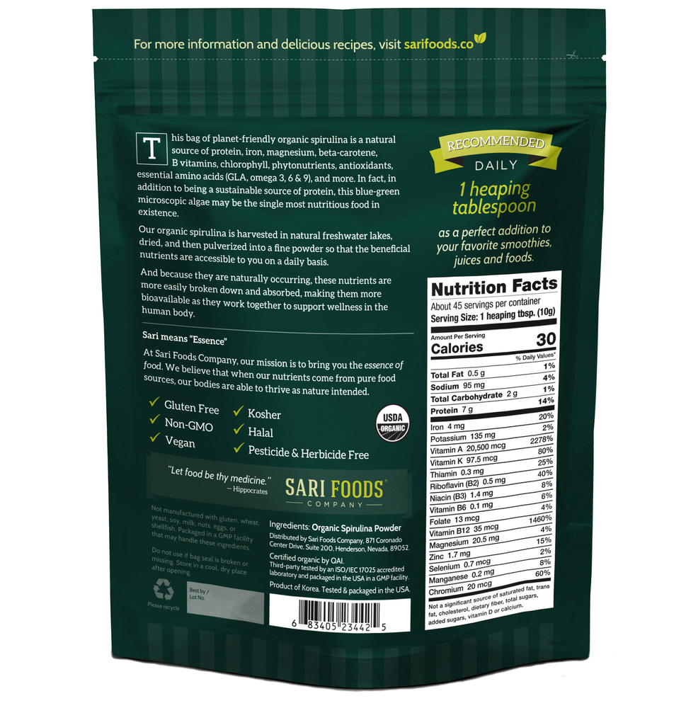 Sari Foods Organic Spirulina Powder package back