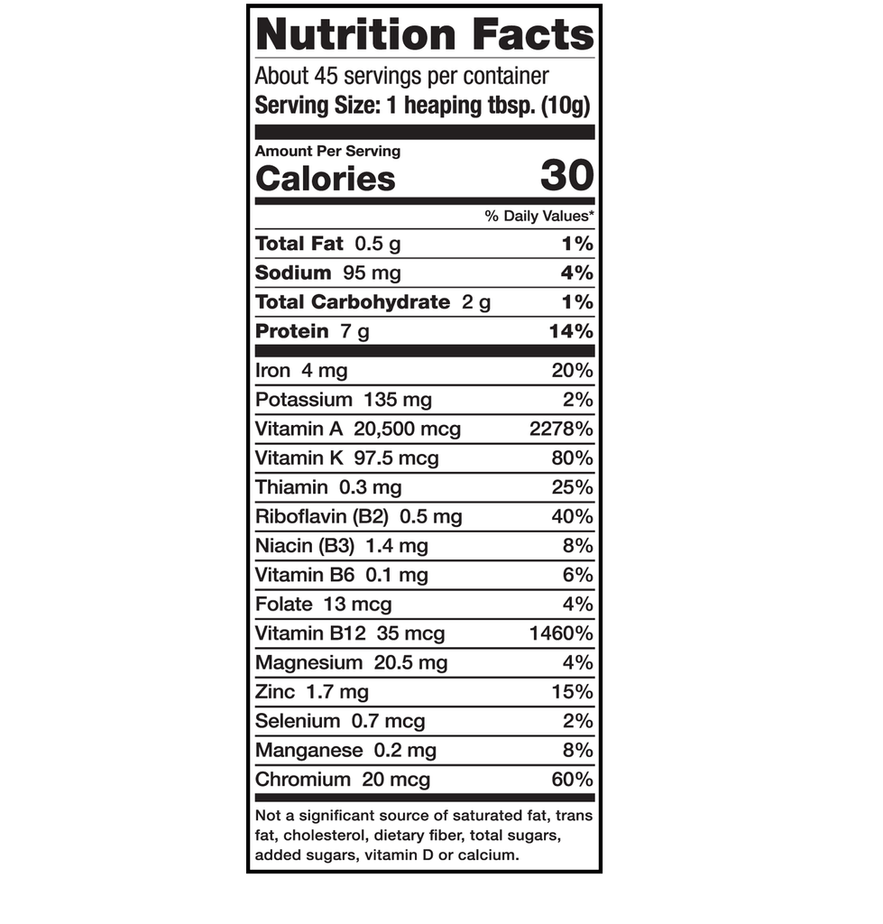 Sari Foods Organic Spirulina Powder Nutrition Facts