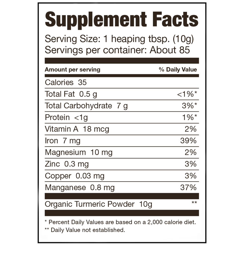 Sari Foods Organic Turmeric Powder Supplement Facts