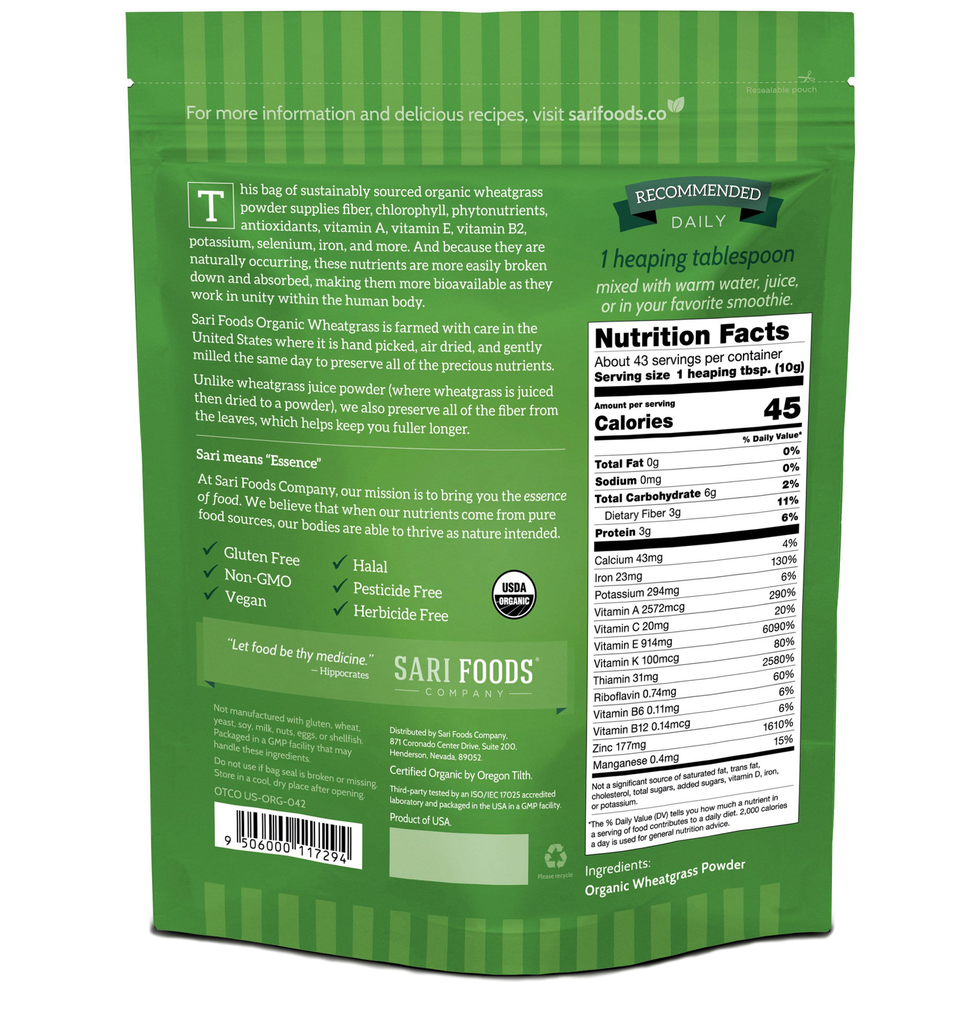 Sari Foods Organic Wheatgrass Powder package back