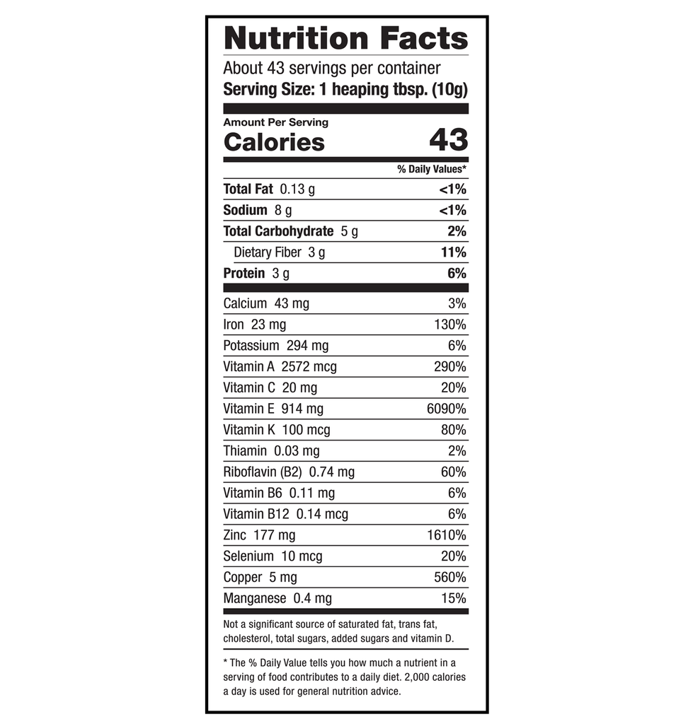 Sari Foods Organic Wheatgrass Powder Nutrition Facts