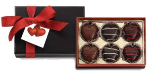 6 Count Hand Striped Truffle Hearts for Valentines