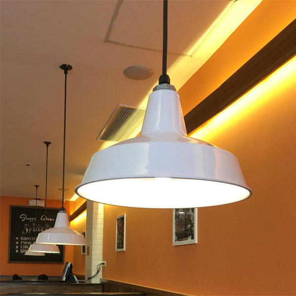 Ezzolights - Zodyn white wide bowl pendant light