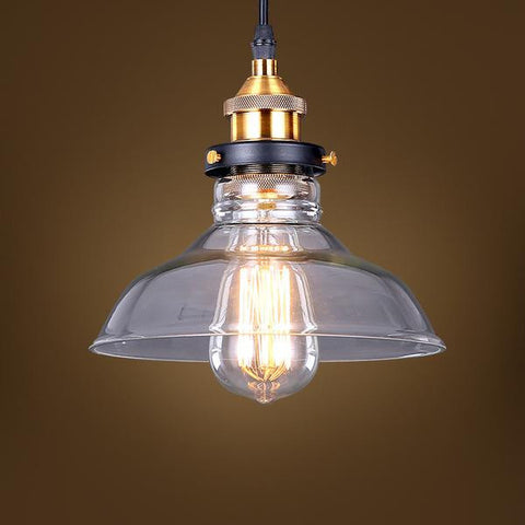 Ceiling Light Fixture INDUSTRIAL RETRO VINTAGE ZODYN GLASS SHADE PENDANT LIGHT - Ezzolights.com
