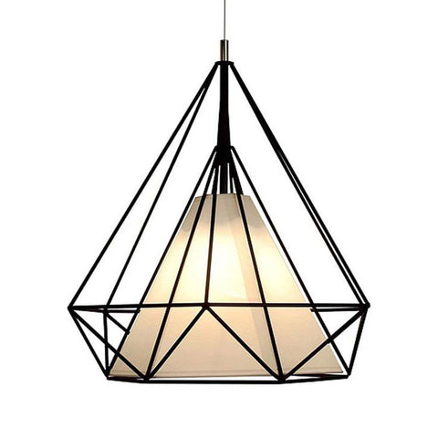 Ceiling Light Fixture ZODYN PYRAMID IRON CAGE PENDANT LIGHT PARCHMENT - Ezzolights.com
