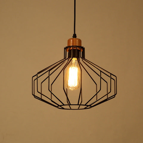 Ceiling Light Fixture ZODYN MINIMALIST IRON CAGE PENDANT LIGHT FIXTURE - Ezzolights.com