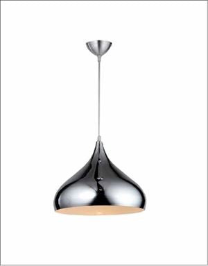 Ceiling Light Fixture ZODYN IRON PENDANT LIGHT GLOSS SILVER BOWL - Ezzolights.com