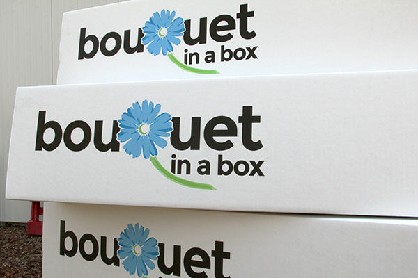 Bouquet in a Box shipping container