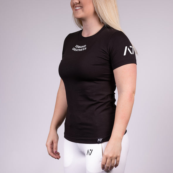 Demand Greatness IPF Approved Logo Women's Meet Shirt - Black