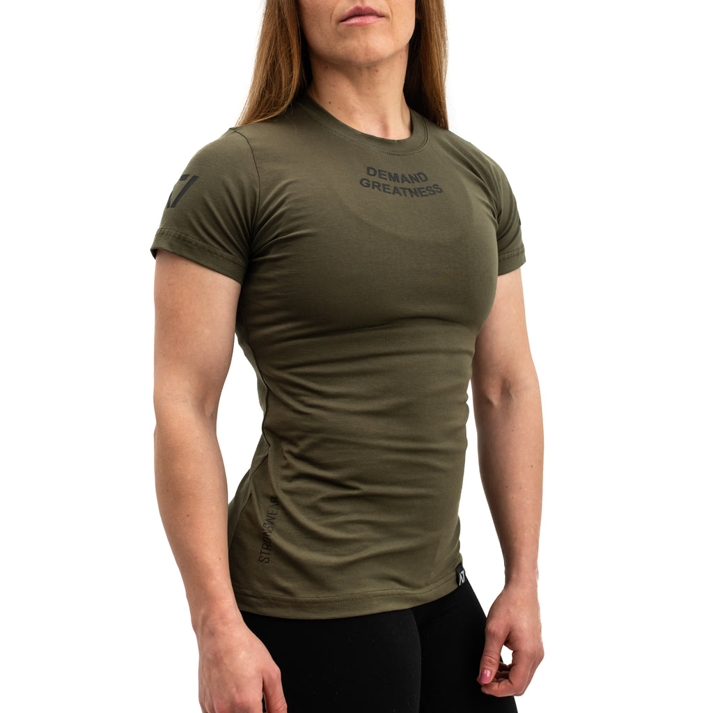 Demand Greatness IPF Approved Logo Women's Meet Shirt - Military