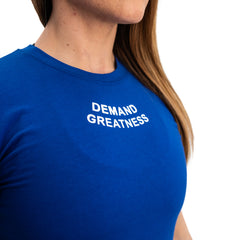 Demand Greatness IPF Approved Logo Women's Meet Shirt - Blue