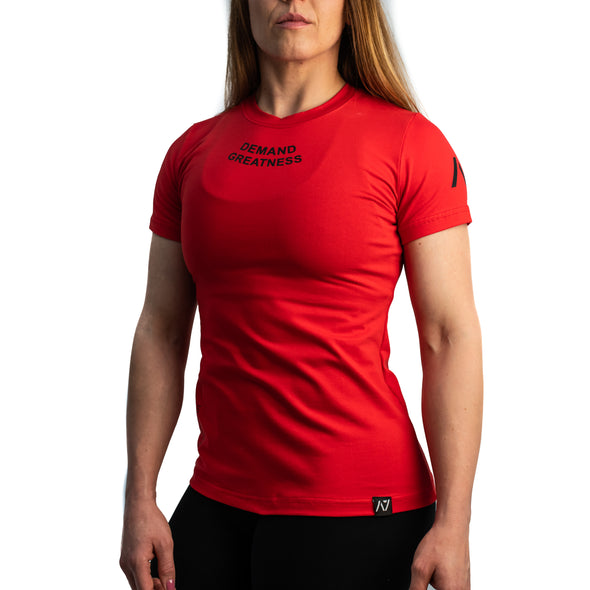 Demand Greatness IPF Approved Logo Women's Meet Shirt - Red
