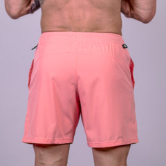 Men's Center-stretch Squat Shorts - Coral Pink