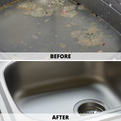 drain clog before and after