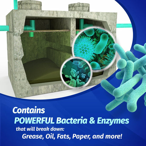 Contains powerful bacteria & enzymes