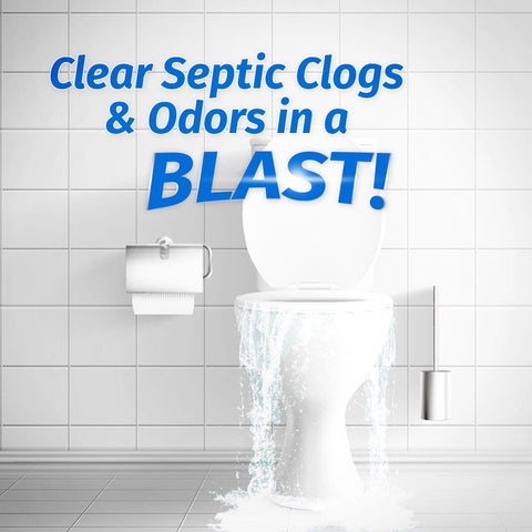 Clear septic clogs and odors in a blast