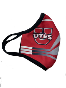 Utah Utes Face Mask Reusable Double Ply w-Elastic Earloops