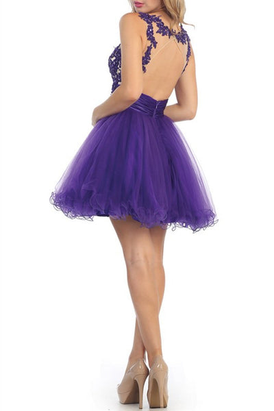 PURPLE PURPLE PURPLE HOMECOMING PARTY DRESS CHIFFON AND SATIN