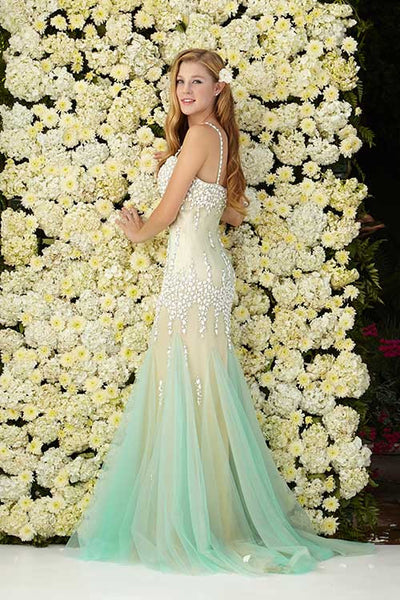Mermaid Teal and Ivory Long alluring Prom Dress $325