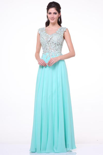 LONG FLOWING AND ELEGANT CHIFFON AND LACE WEDDING, PROM, MOTHER OF BRIDE DRESS