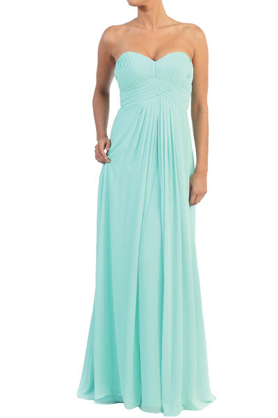 LONG STRAPLESS FLOWING BRIDESMAID DRESS