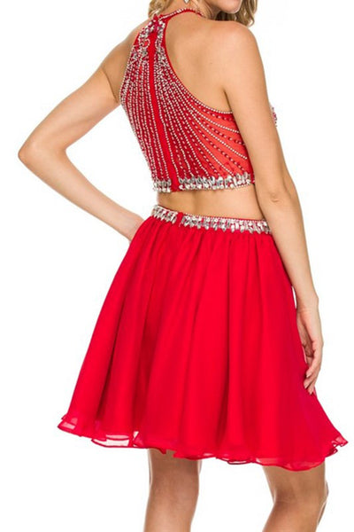Jeweled Two Piece Flowy Skirt Homecoming Dress
