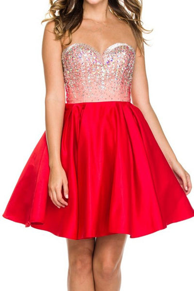 Strapless Jeweled Satin Skirt Homecoming Dress