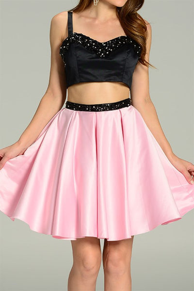 Strapped Chiffon Two Piece Homecoming Dress