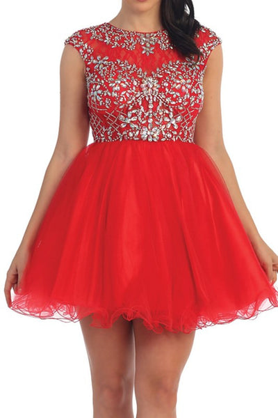 Jeweled Cap Sleeve Tulle Dress