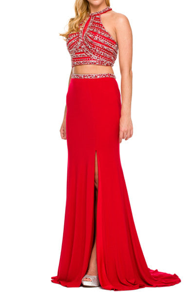 Sequined Halter Neck Two Piece Jersey Prom Dress