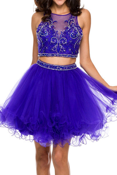 Mesh Jeweled Open Back Tulle Homecoming Dress