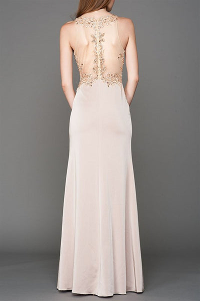 Mesh Top Long Jersey Prom Dress