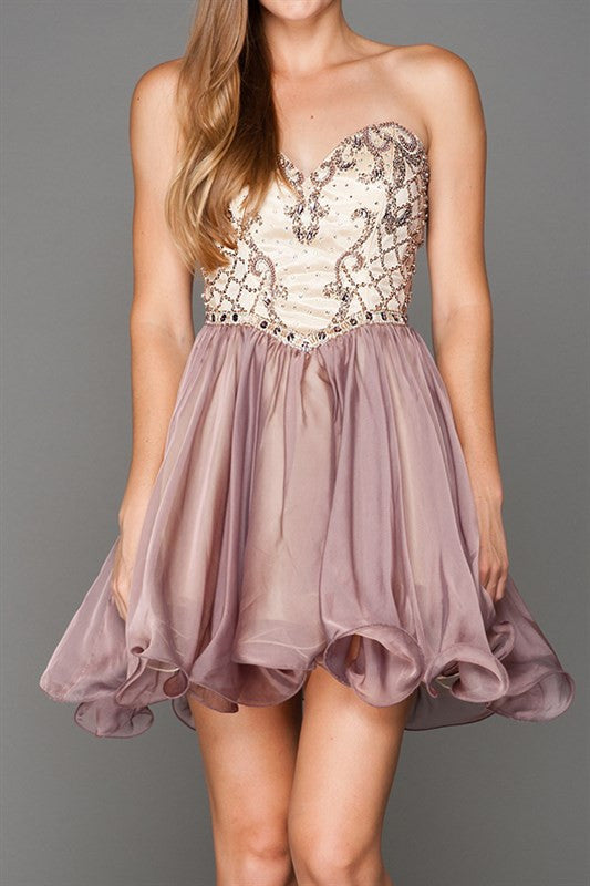 Strapless Sweetheart Neckline Flowy Dress