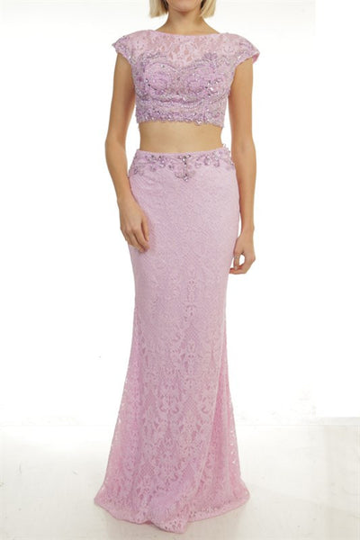 Lace Jeweled Zip Up Two Piece Prom Dress