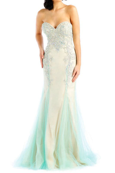 Strapless Lace Design Mermaid Prom Dress
